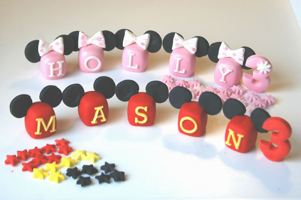 Edible letters personalise name blocks disney mickey mouse for Alphabet blocks cake decoration
