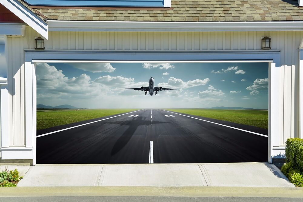 Plane Takes Off Decal For Garage Door 3d Banner Airplane