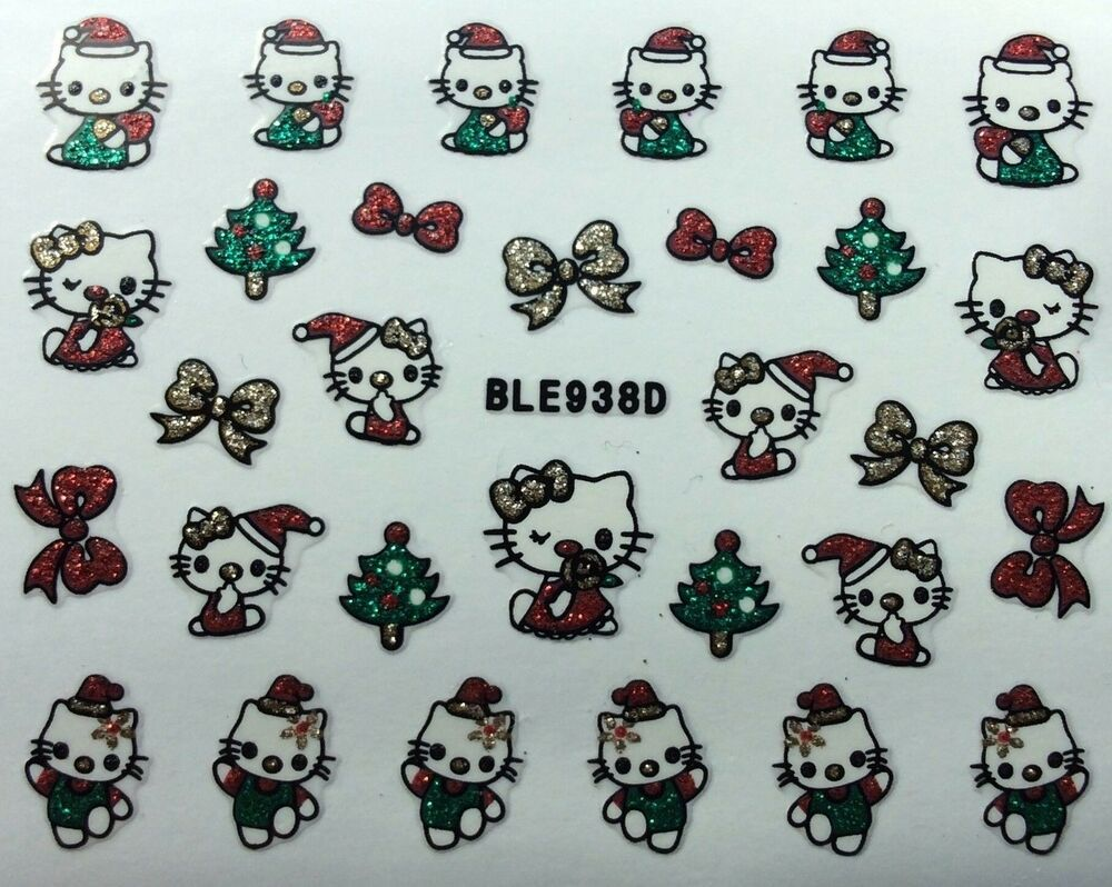 Christmas Quotes And Sayings Glitter Sticker Decal: Nail Art 3D Glitter Decal Stickers Hello Kitty Christmas