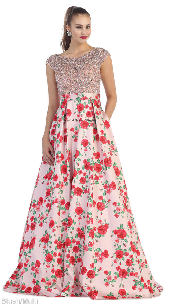 Sale New Floral Rose Print Flowy Dresses Maxi Formal