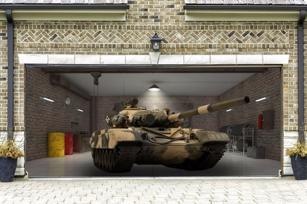 Garage door tank armoured 3d covers decoration banner for Outside garage decorations