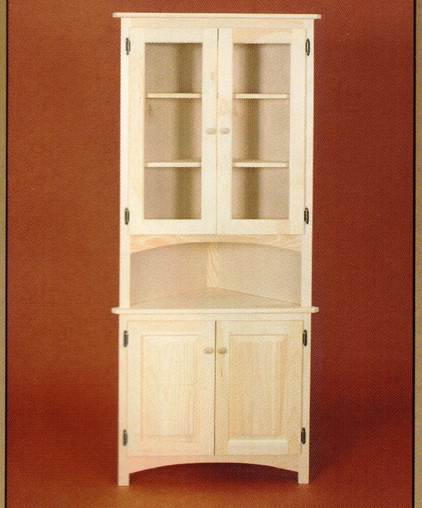Amish unfinished solid pine corner hutch china cabinet for Corner cabinet
