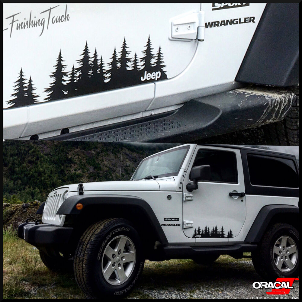 Details about jeep vinyl tree forest graphic set custom door stickers truck windshield decal