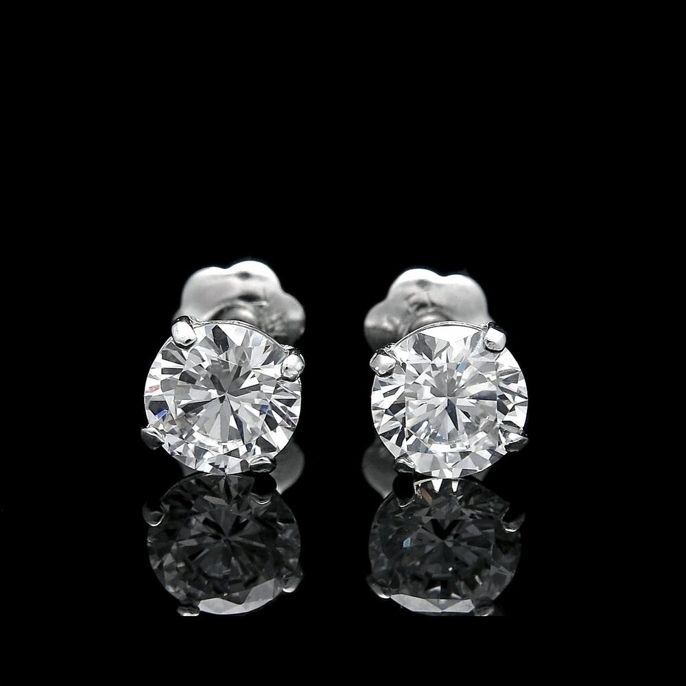 real 14k white gold 1ct brilliant created diamond earrings. Black Bedroom Furniture Sets. Home Design Ideas