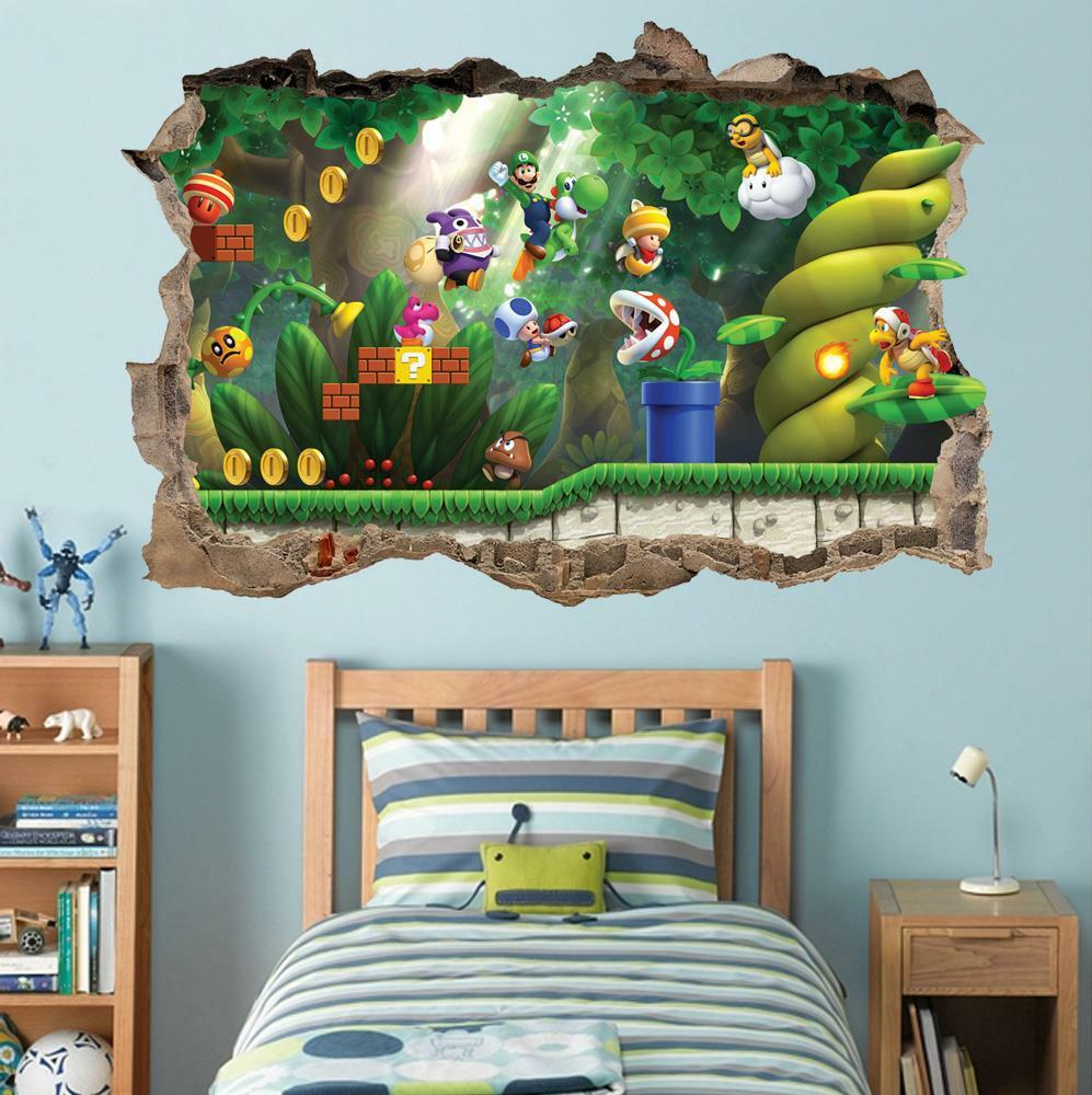 Super mario bros scene smashed wall decal removable wall for Stickers decorativos