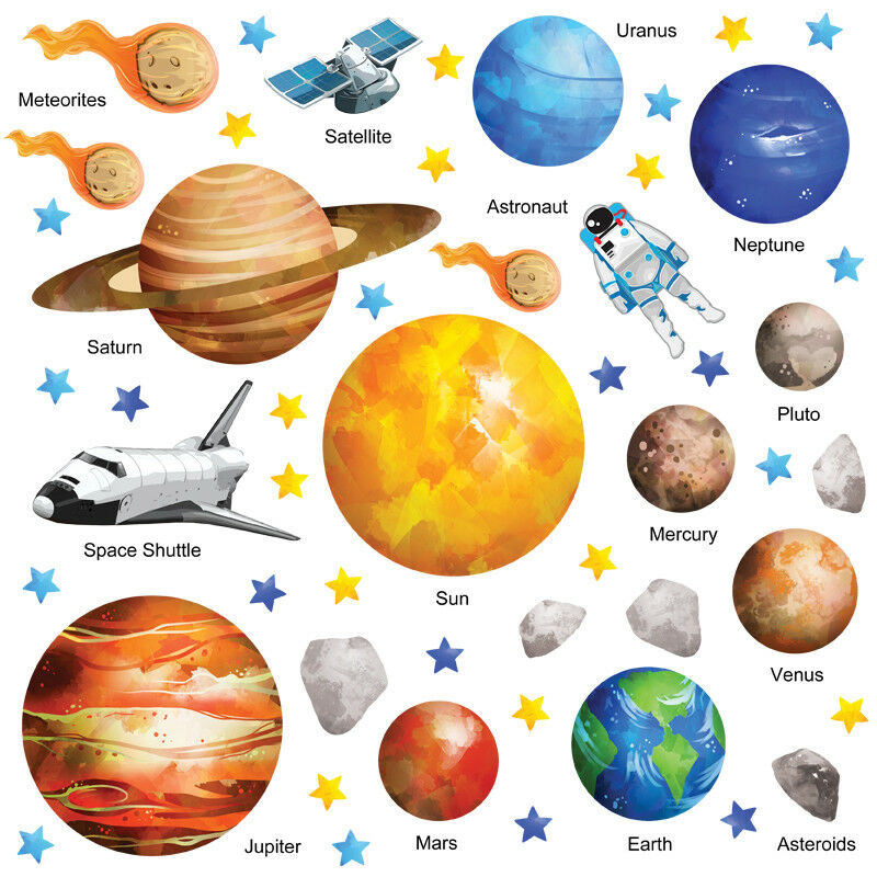 planet wall stickers solar system wall stickers space wall stickers ssys 02 ebay. Black Bedroom Furniture Sets. Home Design Ideas
