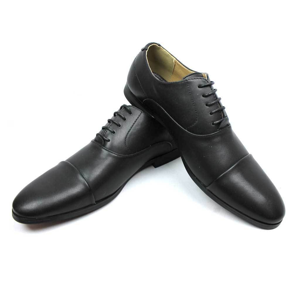 new s solid black cap toe lace up dress shoes oxfords