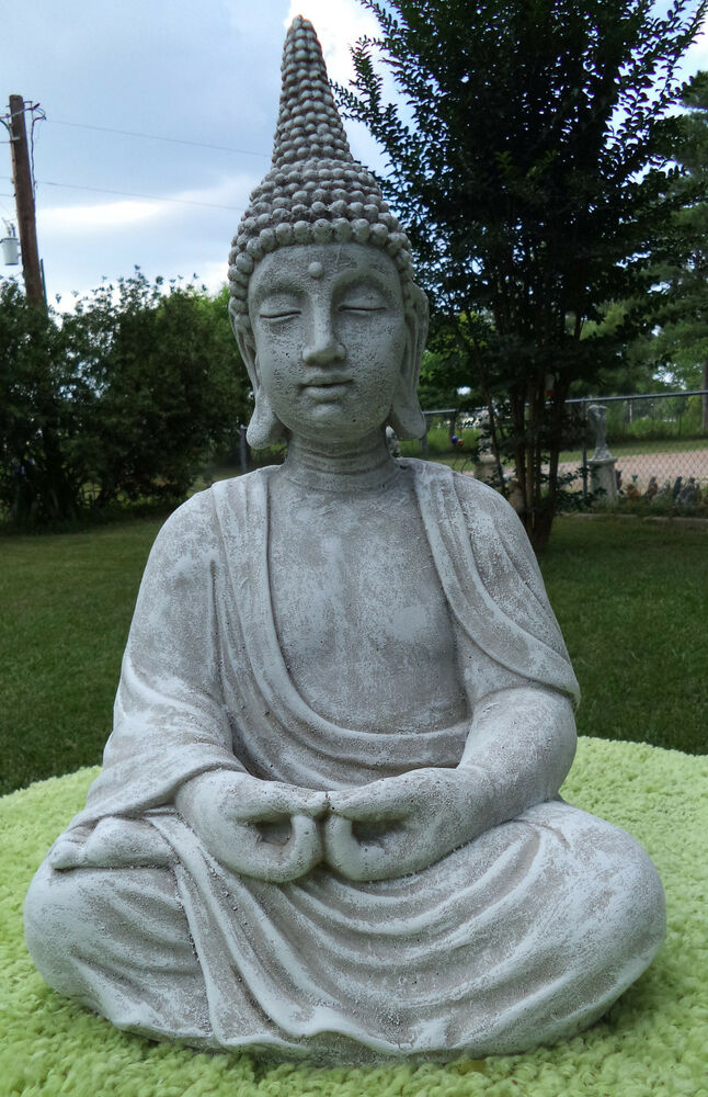 Pointed head meditating buddha cement statue gray for Outdoor buddha