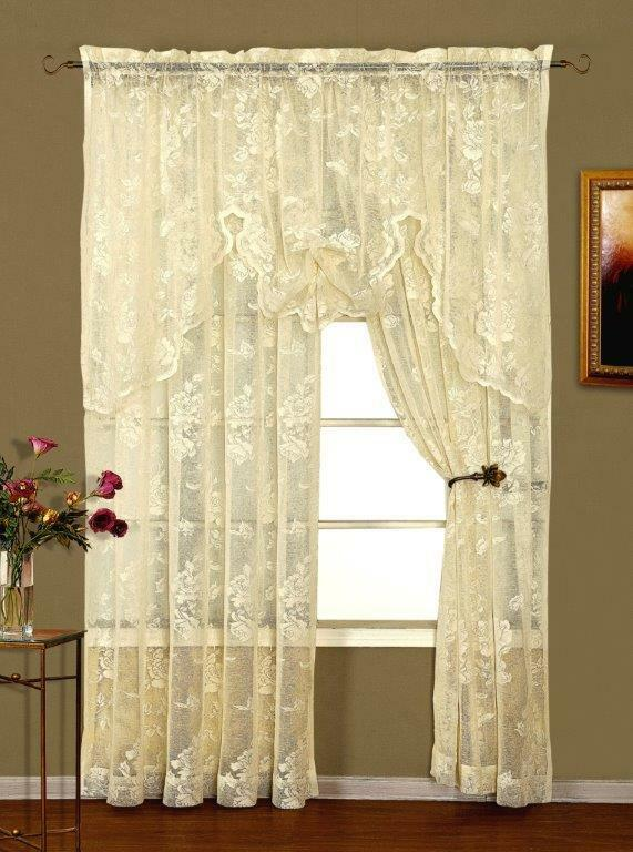 Abbey Rose Lace Valance Ivory Or White Shabby