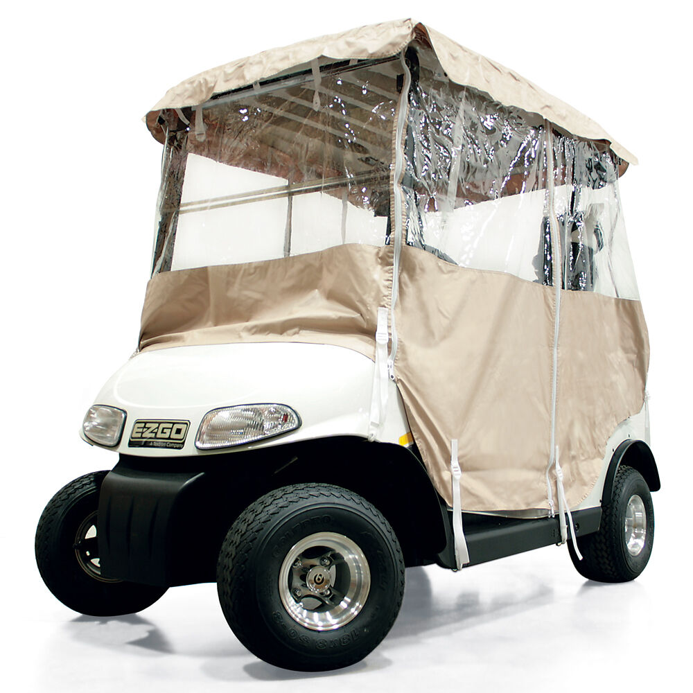 Universal Golf Cart Vinyl Cover Enclosure 4 Sided 2 Pass