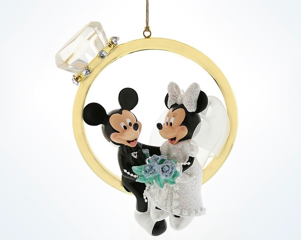 Disney parks mickey and minnie wedding ring figurine for Wedding ornaments