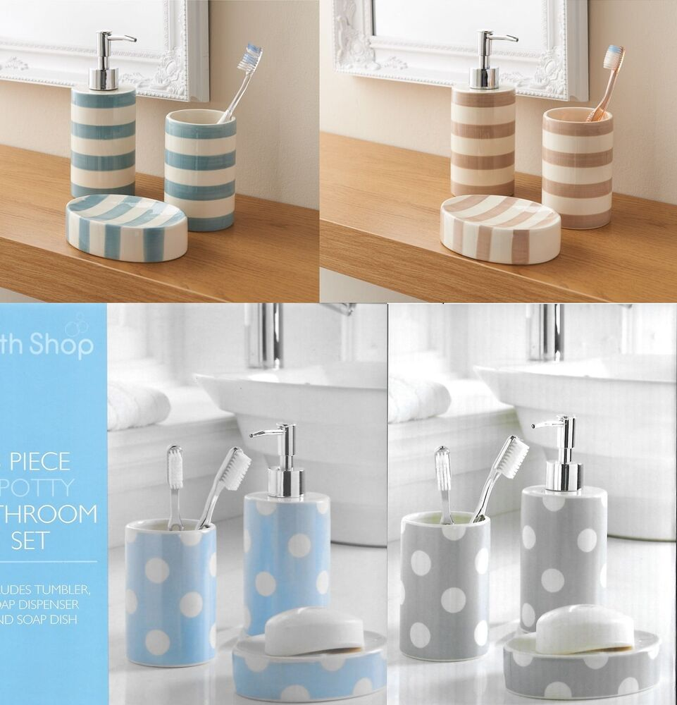 Bathroom accessory set soap dish dispenser tumbler toothbrush holder ebay - Bathroom soap dish sets ...
