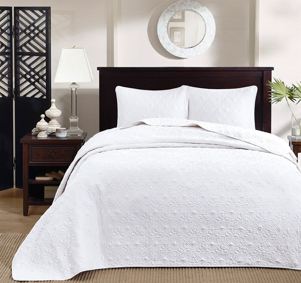 white matelasse 3pc queen bedspread set cotton fill quilt coverlet bedding ebay. Black Bedroom Furniture Sets. Home Design Ideas