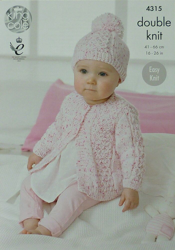 KNITTING PATTERN Babys Easy Knit Cardigan and Pom-pom Hat DK KC 4315 eBay
