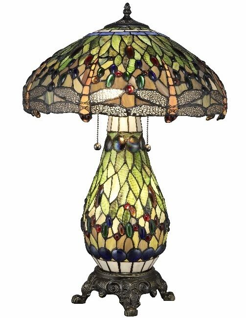 Tiffany Style Stained Glass Table Lamp Yellow Dragonfly