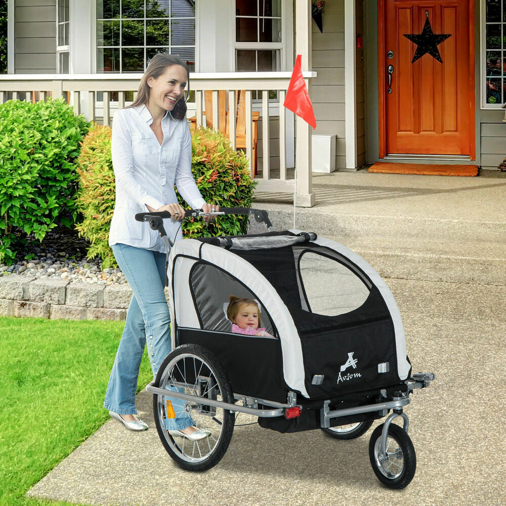 Aosom 3in1 Double Child Baby Bike Bicycle Trailer Stroller ...