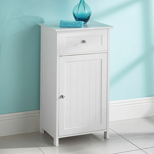 New white wood free standing cupboard with a drawer bathroom furniture cabinet ebay for White bathroom cabinets free standing