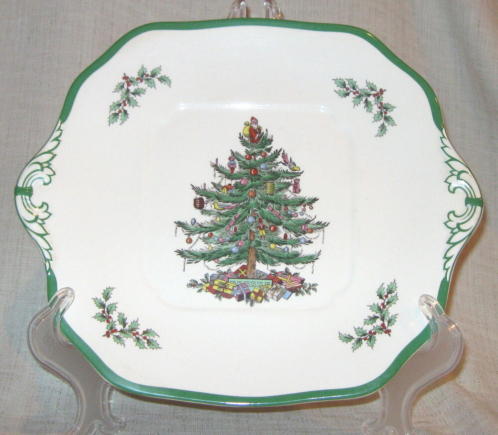 Spode Christmas Tree Square Cake Plate Made In England Ebay
