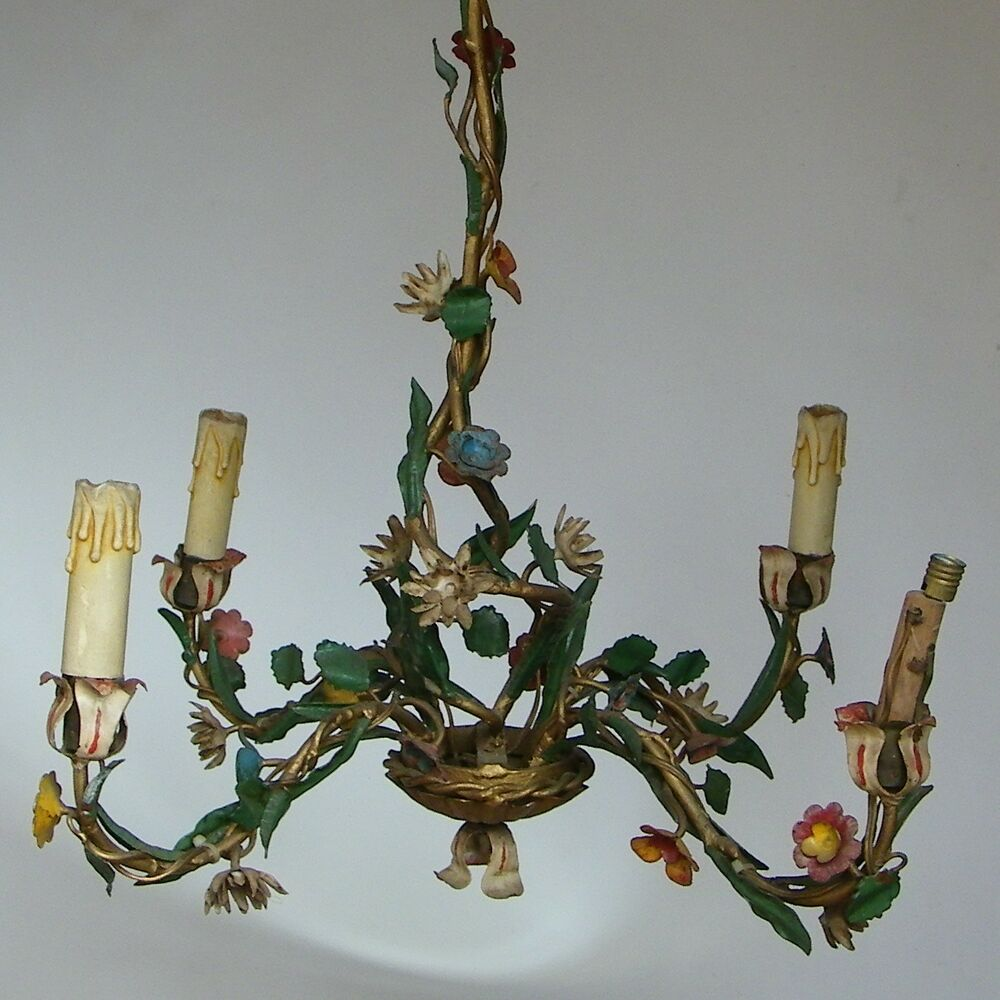 Lovely vintage shabby chic italian tole flowers ceiling - Shabby chic lighting fixtures ...