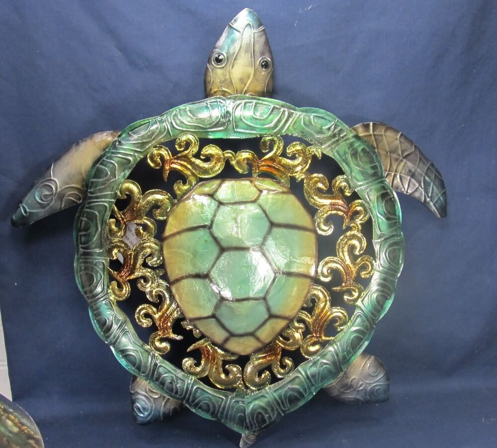 Seaturtle metal w capiz finish nautical beach wall art for W home decor