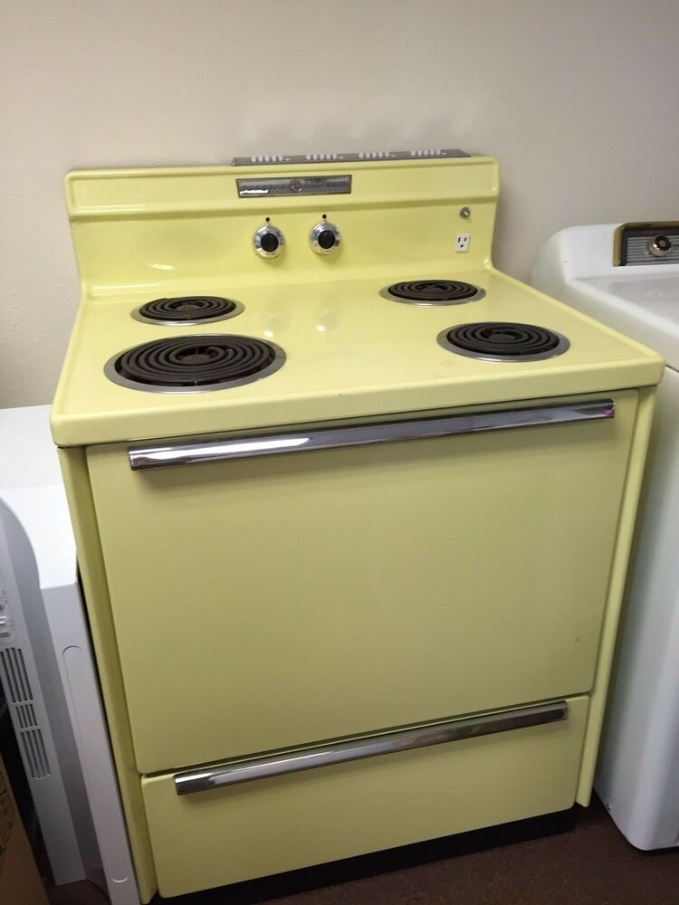 Vintage Electric Stoves ~ Retro vintage ge general electric canary yellow
