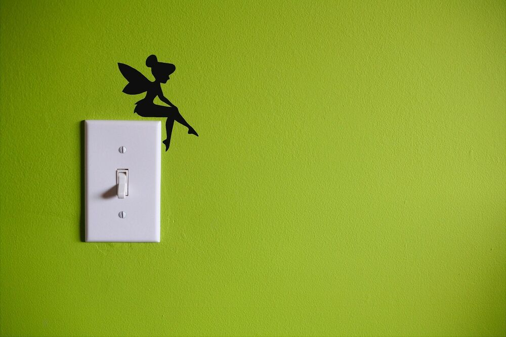 Tinkerbell Light Switch Decal Black Kids Room Wall