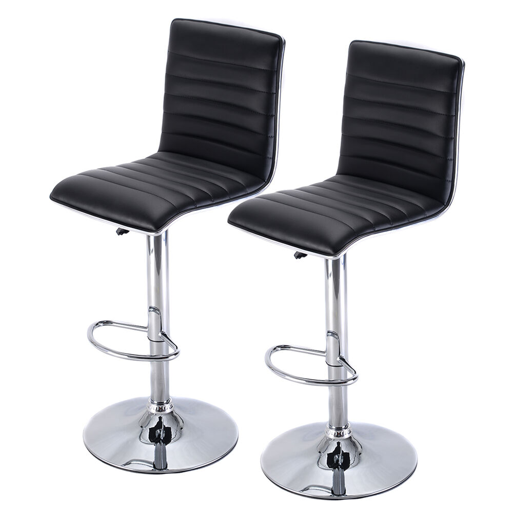 Bar Stool Set Of 2 Adjustable Height Seat Chair Swivel: Set Of 2 Swivel Bar Stool Modern Adjustable Height