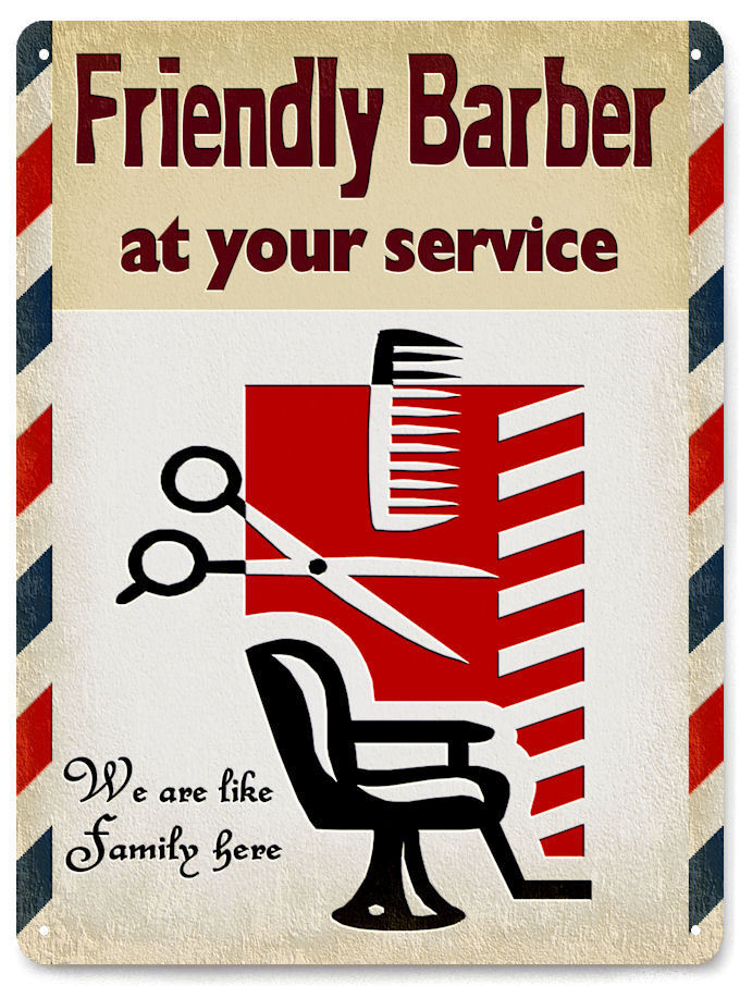 barber shop metal sign friendly hair salon gift vintage. Black Bedroom Furniture Sets. Home Design Ideas