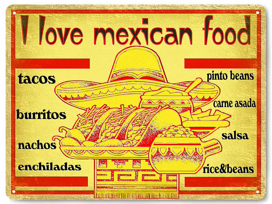 Mexican food metal sign tacos burritos vintage style