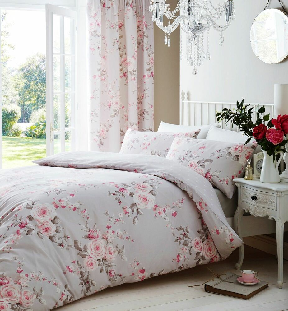 catherine lansfield canterbury grey pink duvet quilt cover bedding set 4 sizes ebay. Black Bedroom Furniture Sets. Home Design Ideas