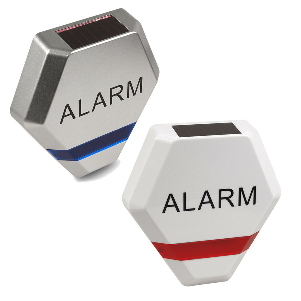 dummy solar alarm anlage au en sirene mit blinkender led fake garage attrappe ebay. Black Bedroom Furniture Sets. Home Design Ideas
