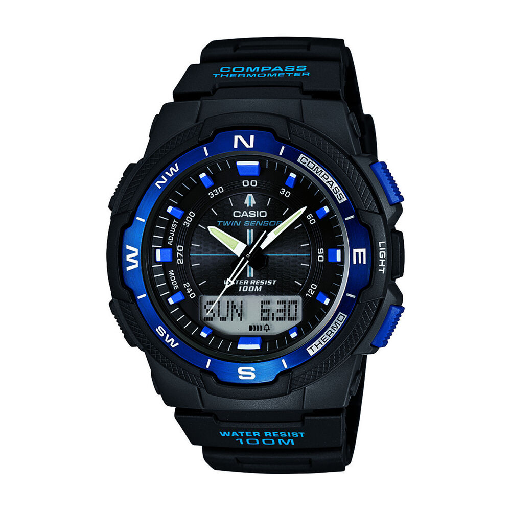 Casio men 39 s sgw500h 2bv resin analog digital twin sensor multi function watch ebay for Bulltoro watches