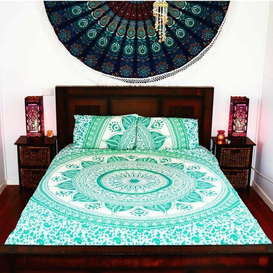 ombre mandala cotton queen size duvet cover full set ethnic indian quilt cover ebay. Black Bedroom Furniture Sets. Home Design Ideas