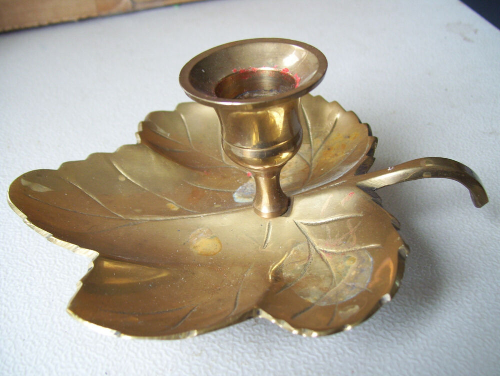 maple leaf solid brass footed candle holder made in india used 6 long ebay. Black Bedroom Furniture Sets. Home Design Ideas