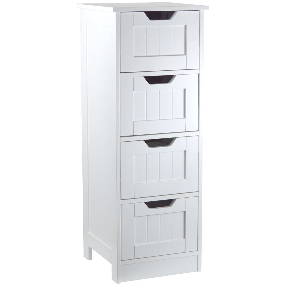 White Wooden 4 Drawer Cupboard Storage Cabinet Free