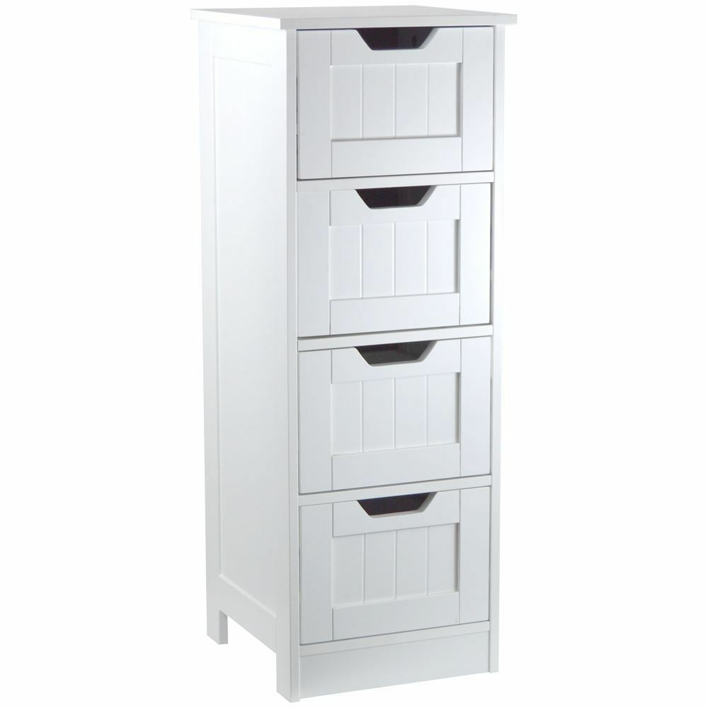 White Wooden 4 Drawer Cupboard Storage Cabinet Free Standing Bathroom Unit Ebay