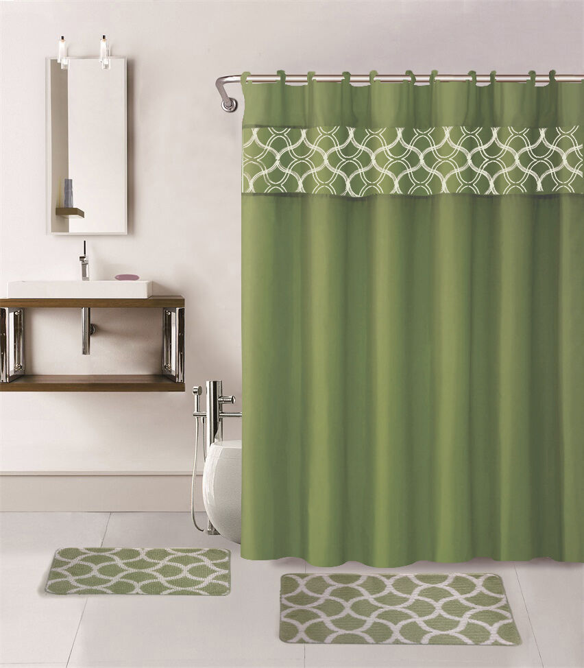 15pc Sage Green Geometric Bathroom Set Bath Mats Shower