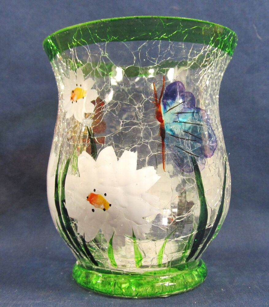 White Daisies Votive Candle Holder Hand Painted Crackle