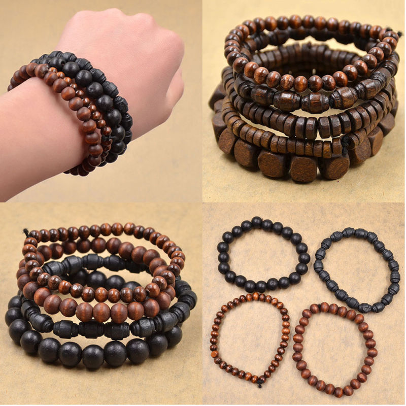 multilayer wooden beaded bracelet elastic bangle men women