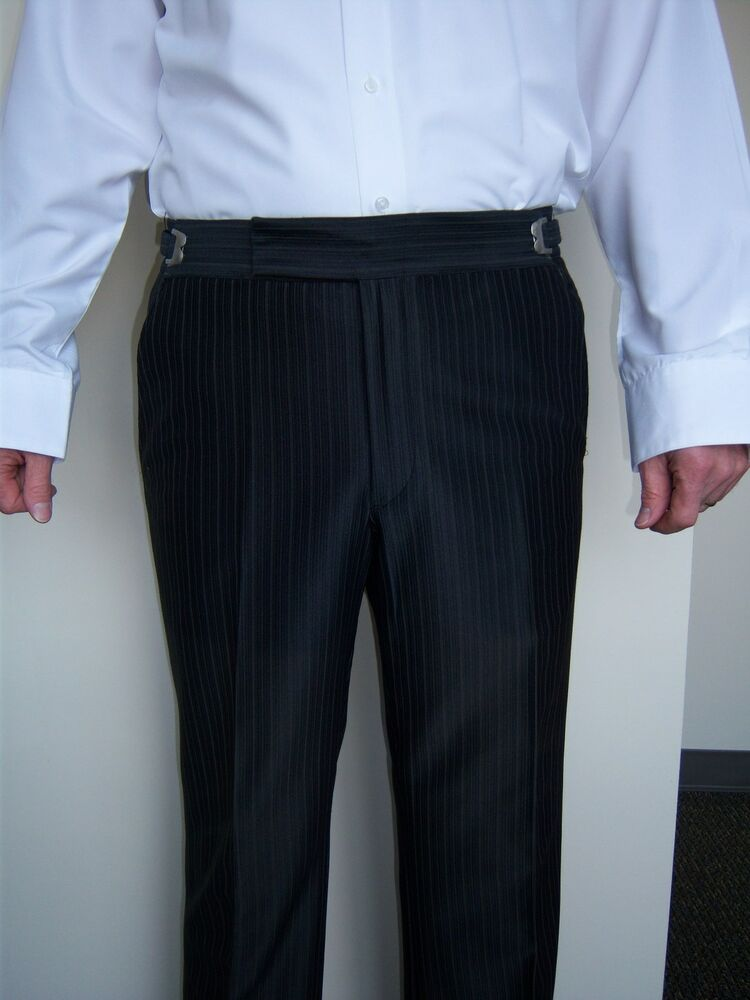 Mens 38 R Black Raffinatti Cutaway Jacket Tuxedo Morning: Black Striped Tuxedo Trousers