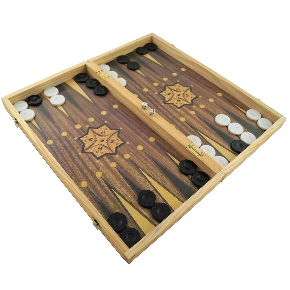 gro es xxl backgammon schach dame holz spielbrett 50 x 47 cm klappbar ebay. Black Bedroom Furniture Sets. Home Design Ideas