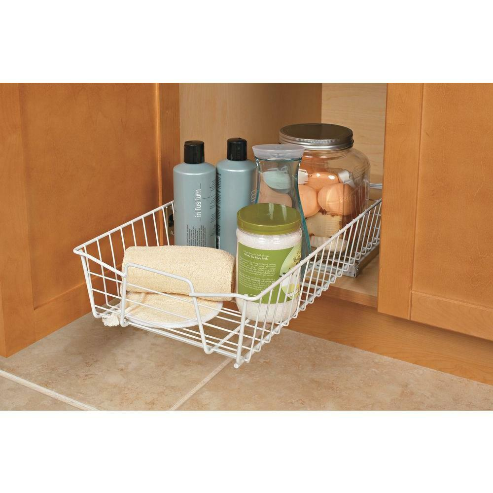 White sliding pull out wire under cabinet pantry kitchen - Bathroom cabinet organizers pull out ...