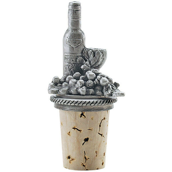 Pewter bottle stopper with cork base wine bottle ebay for Wine cork bar top