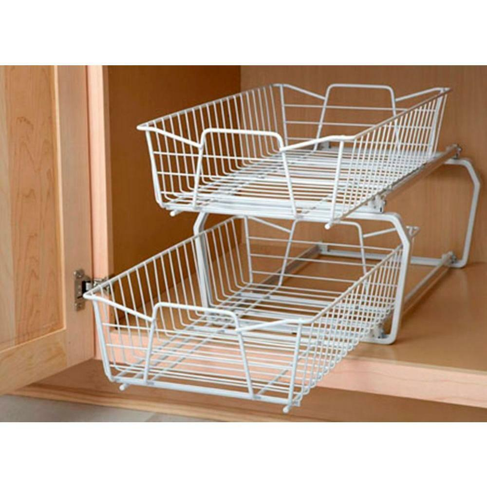 2 tier kitchen under cabinet pantry wire sliding shelf basket storage organizer ebay. Black Bedroom Furniture Sets. Home Design Ideas
