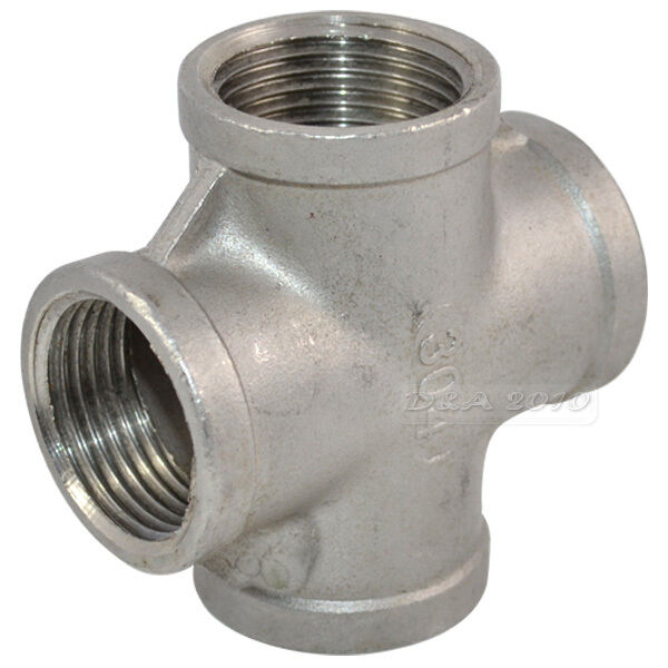 Quot thread way female cross coupling connector ss
