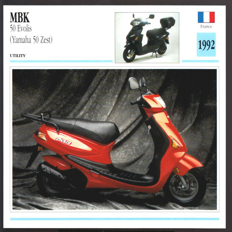 1992 mbk 50cc evolis yamaha 50 zest scooter motorcycle. Black Bedroom Furniture Sets. Home Design Ideas