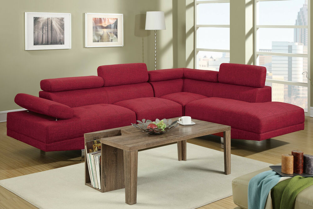 Modern Sectional Couch In Carmine Sofa Sectional Chaise 2 Pc Living Room Set