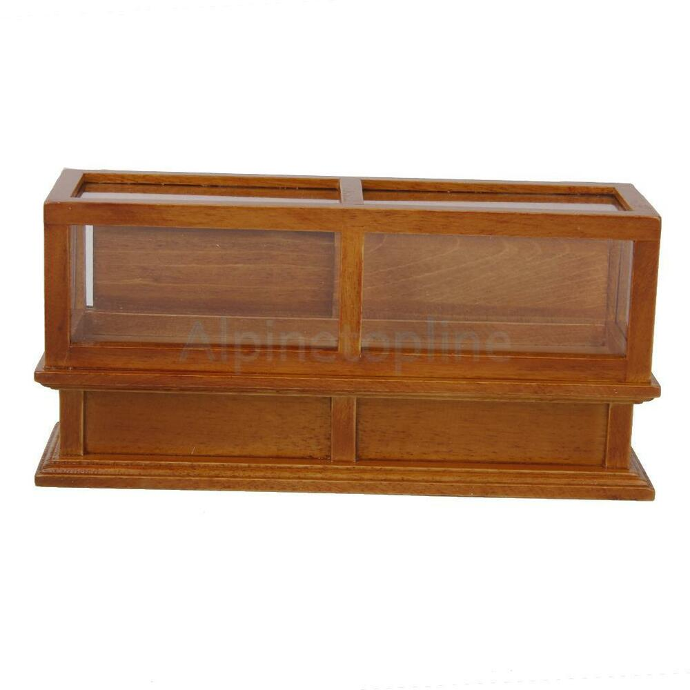 1 12 Scale Wood Display Counter Cabinet Dollhouse