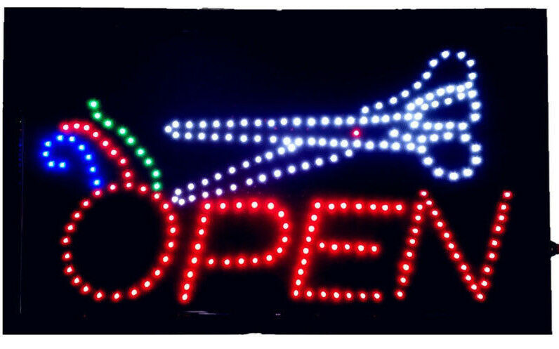 large animated led neon led open barber sign hair salon