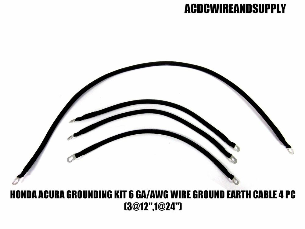 honda acura grounding kit   6 gauge wire ground earth cable 4 pc  3 12 u0026quot  1 24 u0026quot